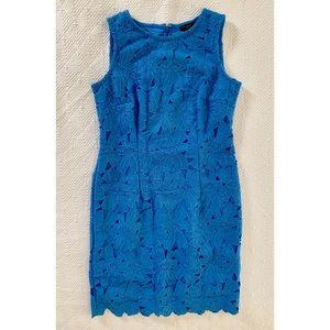 Blue Embroidered Sheath Dress